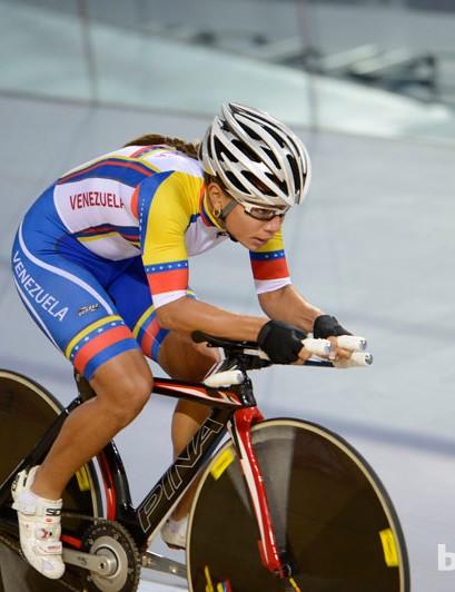 A Venezuelan omnium rider gets a feel for the track