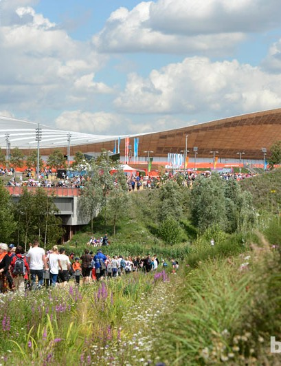 Crowds outside the Olympic velodrome