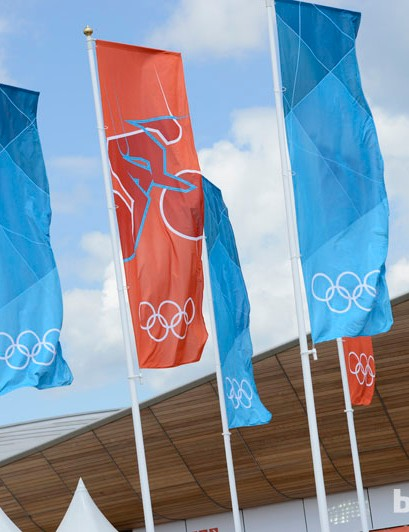 Flags flying, ready for the track competition