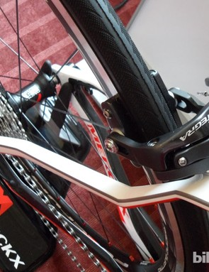 Assymetric seat stays have this unusual geometric shaping