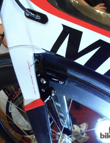 Rear mounted TRP brake up front