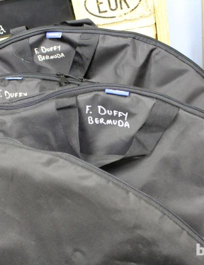 Each of Duffy's wheels gets its own bag