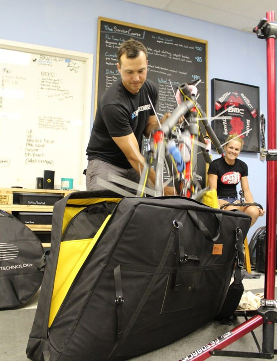 Shanks puts the padded frame into a Pika bike bag, which can hold the frame, four wheels, tools and more