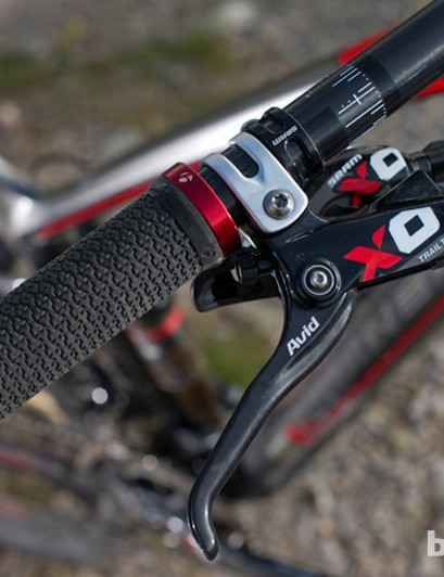 Avid's new X0 Trail brakes are responsive and progressive and long enough for middle finger brakers