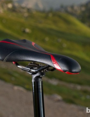 The Bontrager Evoke 4 Ti-rail saddle was a pleasure to ride all day, but lacks padding for on the nose steep climbs