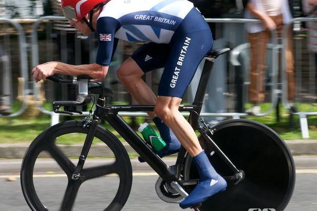 Winner Bradley Wiggins used O Symetric chainrings on his UK Sport Innovation bike. He can't get much further forward either