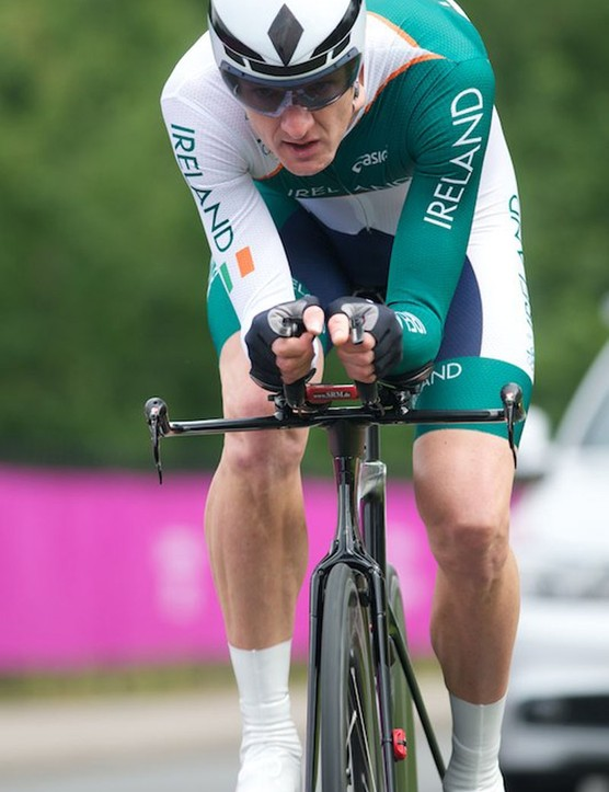 David McCann of Ireland (the UK competition record holder over 25 miles with 45'54) rides a Trek Speed Concept, Scott helmet and Smart shoe covers. But he didn't have the legs in the TT and finished 27th, nearly five and a half minutes down on Wiggo