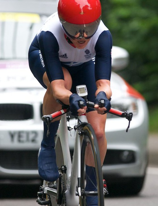Emma Pooley of GB with her UK Sport helmet and interestingly mounted Garmin 500