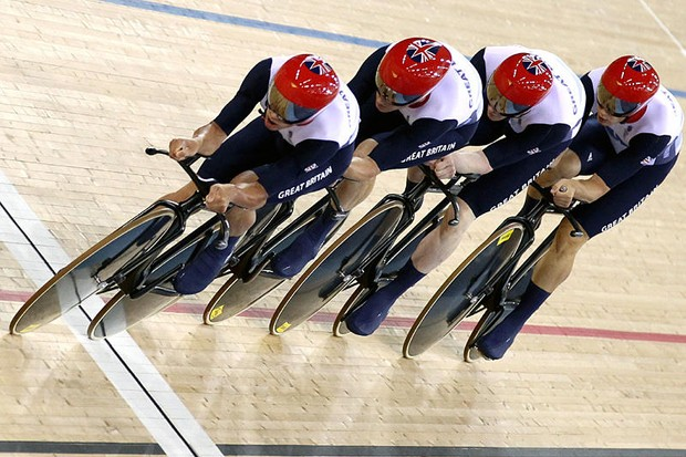 Great Britain's Ed Clancy, Geraint Thomas, Steven Burke and Peter Kennaugh in the Olympic men's team pursuit, which they won with a new world record