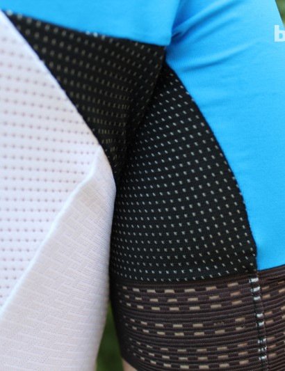 Silver threads are featured in the underarm fabric