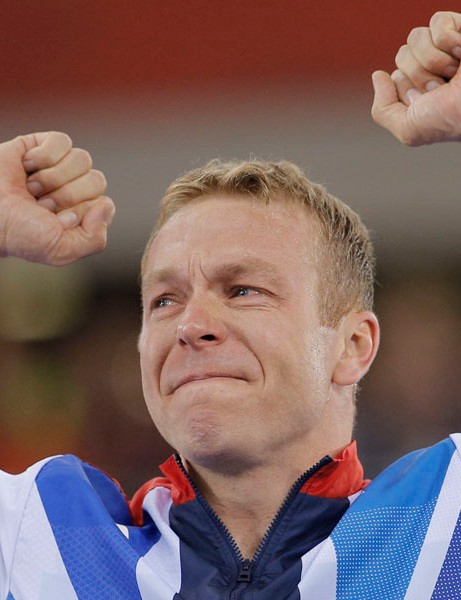 Sir Chris Hoy celebrates winning the gold medal in the men's keirin event, bringing to a close an Olympic career that saw him win six gold medals