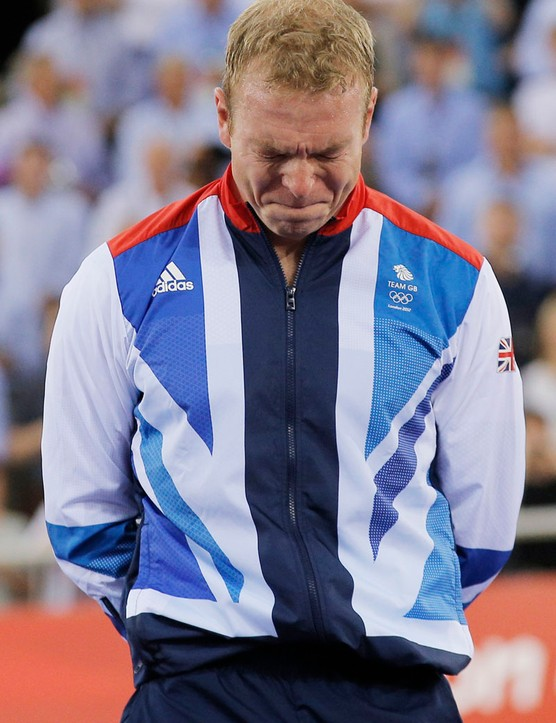 An emotional Sir Chris Hoy on the Olympic podium for the final time
