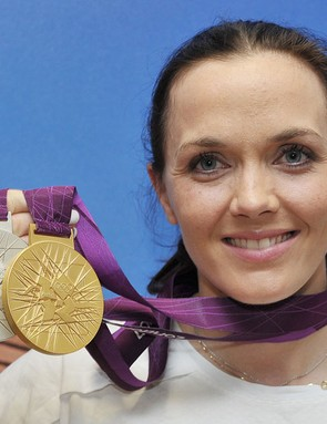 Victoria Pendleton with her gold and silver medals at Team GB house in London following the last day of the track cycling in the velodrome.
