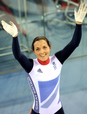 Victoria Pendleton salutes the crowd after winning silver in the sprint