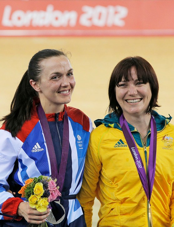 Rivals Victoria Pendleton and Anna Meares  - silver and gold in the women's sprint