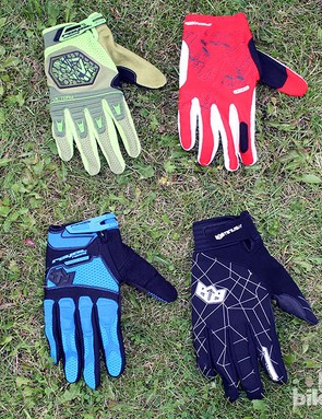 Clockwise from top-left: the Victory gloves get a new green colour for 2013; red men's Tybyn (£24.99); black men's Minus (£39.99); Turbulence (£34.99) in blue, black and white. The latter comes with touchscreen compatibility in the thumb and forefinger