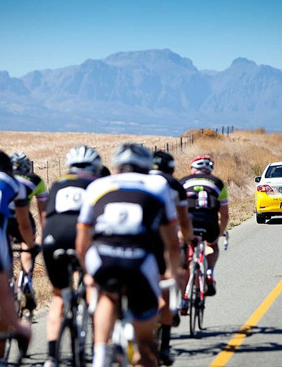 The roads aren't closed during the Cape Rouleur, but cars and motorbikes up front and out bike mean they may as well be