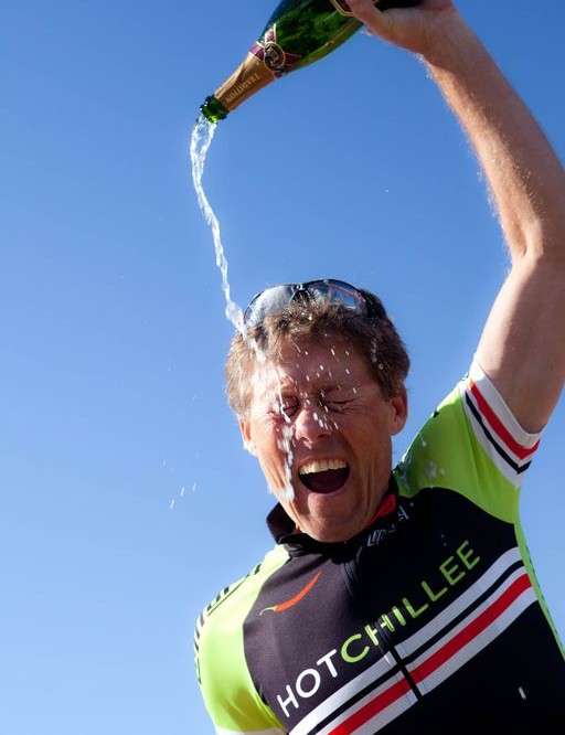 Sven Thiele celebrates at the climax of the the event on the sea front in Cape Town
