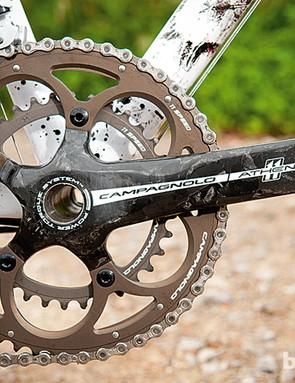 Athena features an 11-speed compact chainset with carbon arms