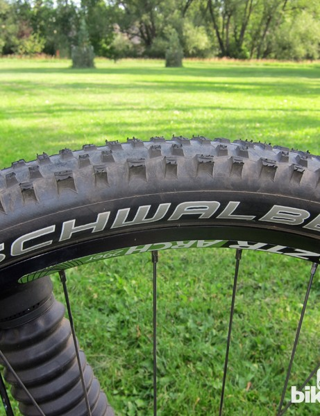 The Schwalbe Rocket Ron tires are fast rolling but remarkably grippy in most conditions. Setting them up tubeless was brutally simple, too, thanks to the standard Stan's NoTubes ZTR Arch rims