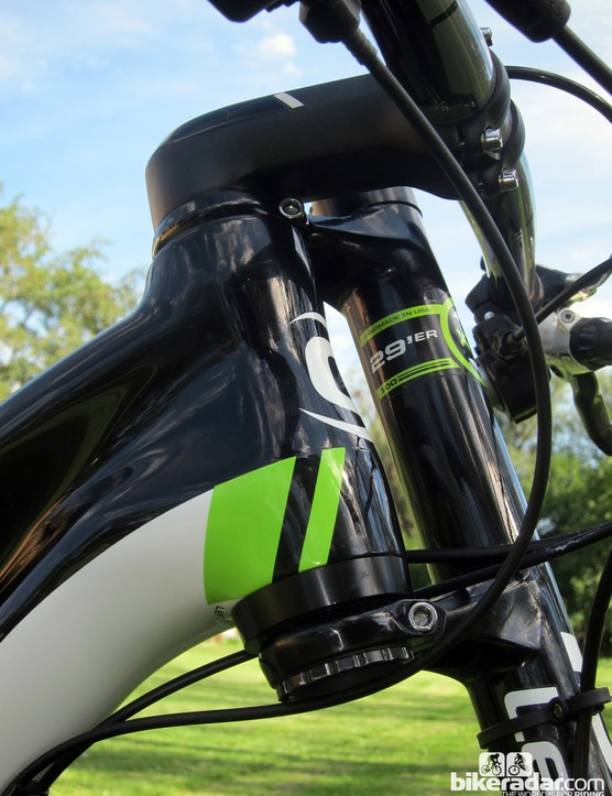 Cannondale houses one of the headset bearings in an aluminum head tube extension. Moving the extension from the top to the bottom as we've done here yields slightly more relaxed handling that's better for high-speed sections of technical trail