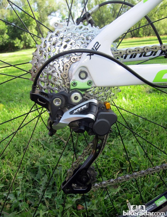 The Shimano XTR Shadow Plus rear derailleur may be heavier than the standard version but it's a brilliant piece of kit what with the highly effective one-way friction clutch lending outstanding chain control