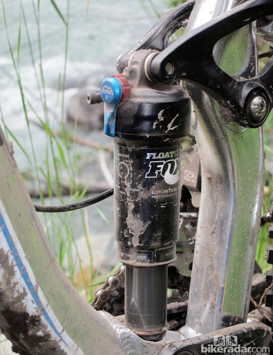 The rear shock on the new Giant Trance X 29er 0 features Fox's new CTD adjustment system but we never felt the need to use the full-blown 'Climb' mode during our test day in the backcountry of British Columbia, Canada
