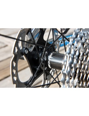 The straight-pull DT Aerolite bladed stainless steel spokes of Giant's new P-TRX 29er 1 are pushed far apart on the aluminum hub shell
