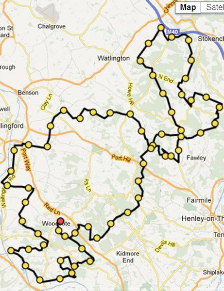 The 100km route of the Chilterns Challenge