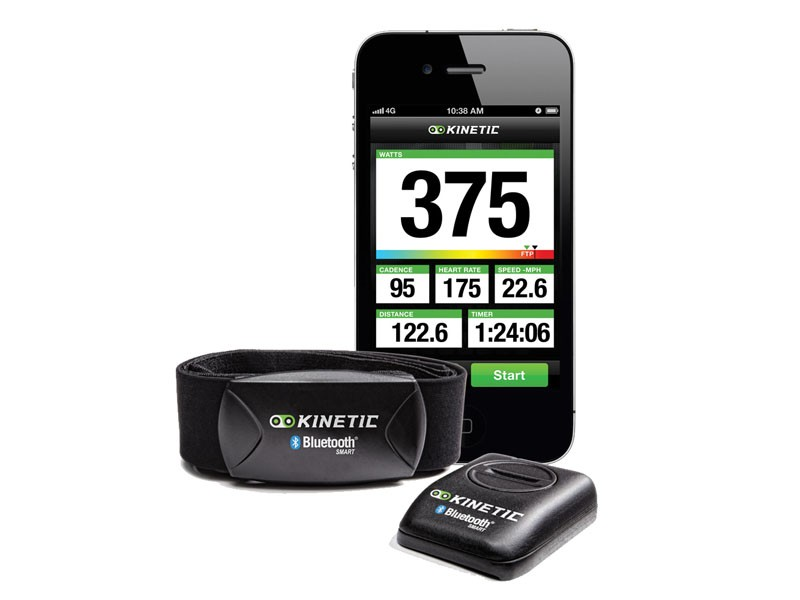 The Kinetic inRide Watt Meter system - heart rate monitor, power sensor and iPhone app