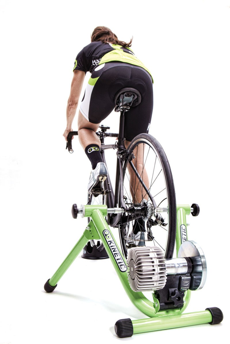 The power sensor attaches to the bottom of the turbo trainer