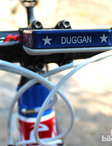 The Olympic Team USA theme blends well with Duggan's national champ road bike