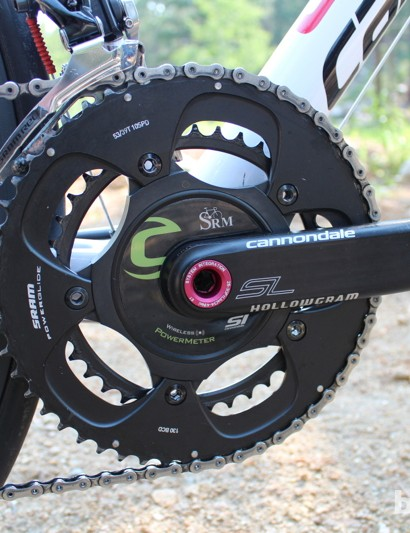 An SRM power meter in Liquigas green is mounted on Cannondale's Hollowgram SL crank