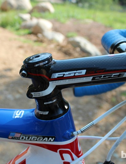 Long and low: Duggan runs a 120mm stem on his 50cm frame