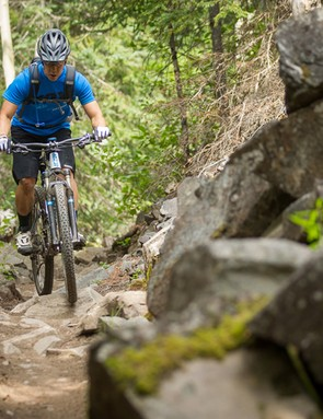 The Giant Trance X 29er 0's excellent suspension, big wheels, and high-volume tires make quick work of trail obstacles