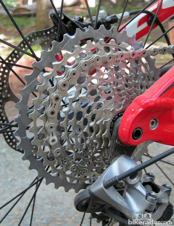 The new SRAM XX1 cassette features a massive 10-42T range and similar machined construction as the standard XX unit