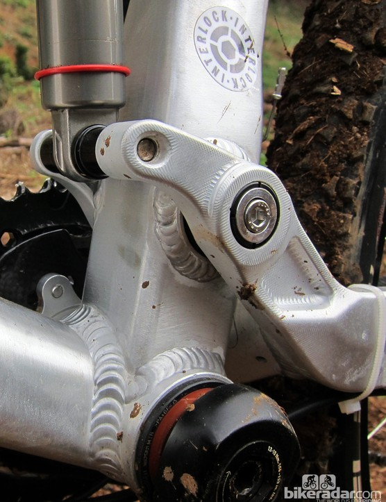 PYGA's Interlock hardware uses a locking collet similar to the one Santa Cruz uses, for ultra-secure - and presumably creak-free - pivots. Disregard the unsightly zip-tie, by the way. Our test bike was an early prototype and later production models have more refined routing