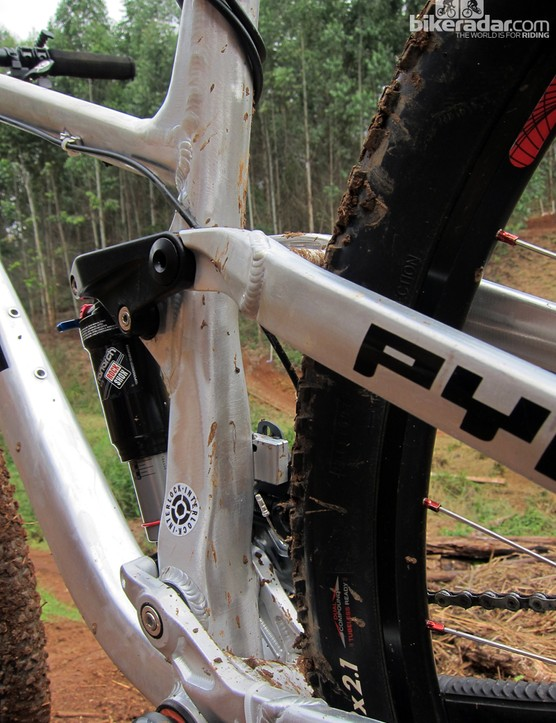 The seat tube is highly asymmetrical and extensively shaped