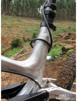 A small gusset reinforces the extended seat tube