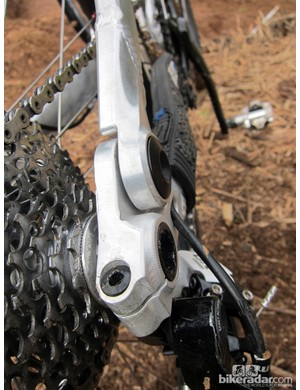PYGA uses a through-axle rear end with a pinch bolt for extra security