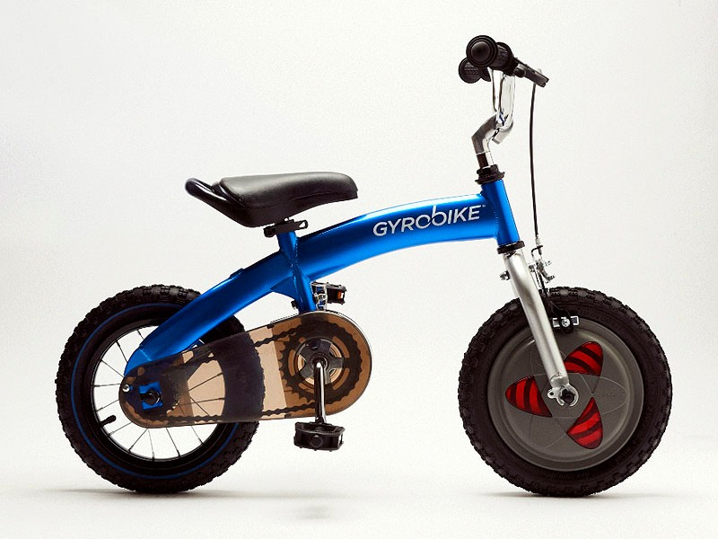 The Gyrobike utilises a gyroscopic front wheel which helps children from ages 3-6 learn to ride a bike