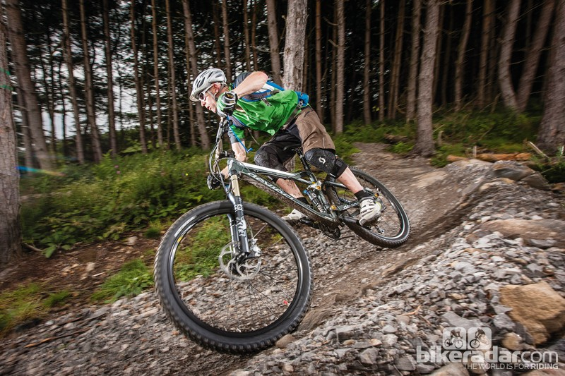 The Devinci is stiff enough to team up with a tougher fork
