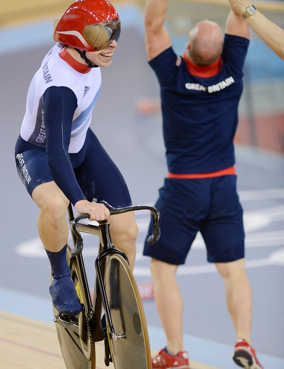 Team Great Britain celebrates winning the Olympic team sprint