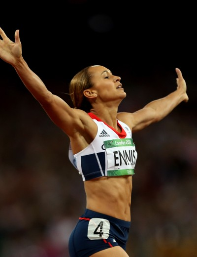 Jessica Ennis celebrates winning the Olympic heptathlon