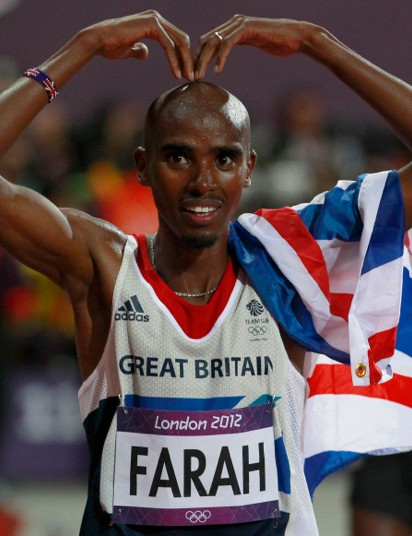 Mo Farrah celebrates winning the Olympic 10,000 meters
