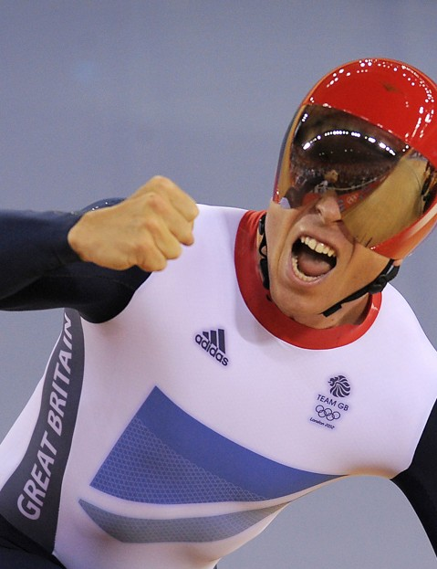 Chris Hoy celebrates winning the Olympic team sprint
