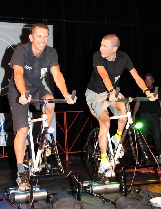 TrainingPeaks' Dirk Friel and Olympic cyclist Jani Brajkovic of Astana