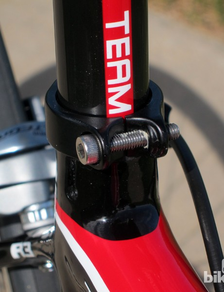 The aluminum seatpost collar is slim and lightweight, but the bolt is much too long