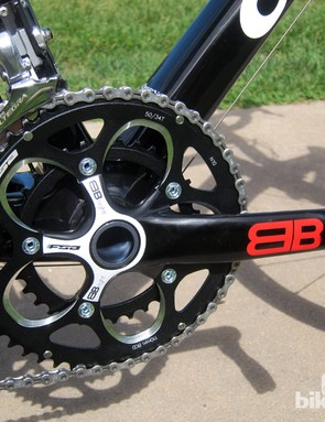The FSA BBright crank is a solid forged aluminum unit similar to the company's Gossamer. It isn't light or exceptionally rigid but the compact chain rings shift well