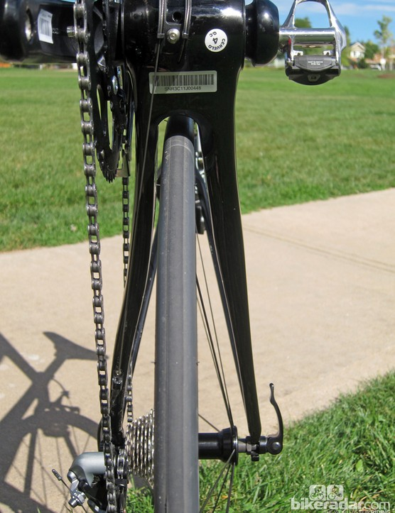 The chain stays are highly asymmetrical, with the non-driveside one being nearly twice as wide